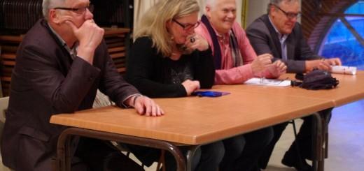 Michel ZDAN, Président du SMIVOM de la Mouillonne, Cathy HOAREAU, Présidente de l'Association Auterive Autrement, René AZEMA, Élu du groupe d'opposition Auterive Autrement, et Serge BAURENS, Président de la CCVA (Communauté de Communes de la Vallée de l'Ariège)